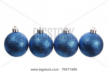 Four Blue Spangled Christmas Balls