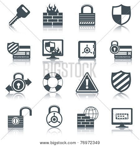 Security icons set black