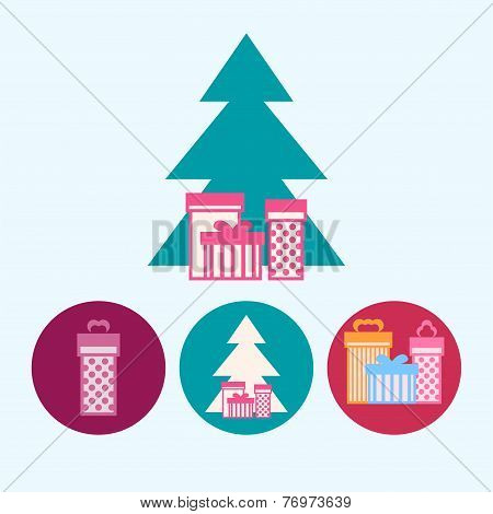 Set Icons With  Gift Boxes, Christmas Tree With Gift Boxes, Vector Illustration
