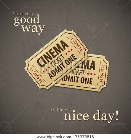 Two old cinema tickets for cinema over grunge background. Eps10 vector illustration.