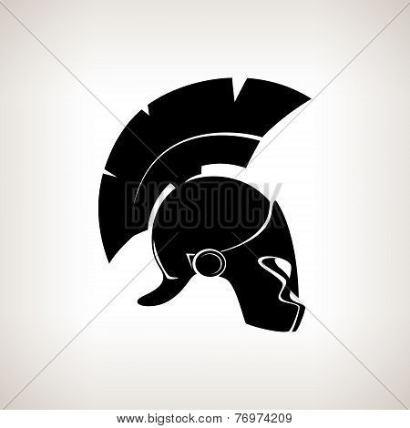 Silhouette Helmet On A Light Background, Vector Illustration