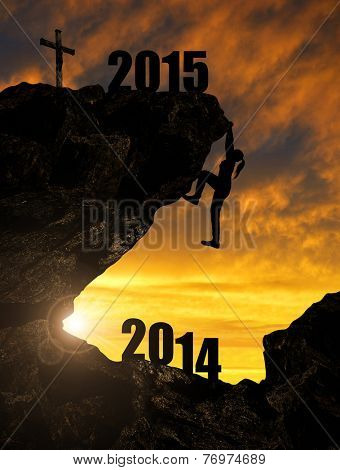Silhoutte girl climbs into the New Year 2015