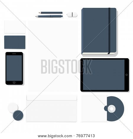 Empty stationary set isolated on white background - (letterhead, business cards, phone, tablet, pen, pencil, sketchbook, CD, badge) flat design vector illustration