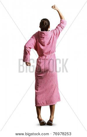 back view of displeased housewife showing fist, screaming and looking up. isolated on white background