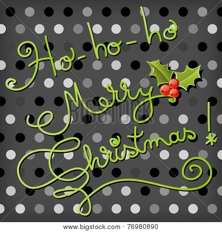 Vector Merry Christmas greeting card, handwritten typography.