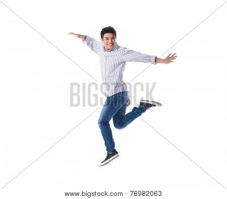young happy man jumping