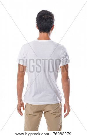 back T-white shirt on a young man posing