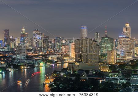 Modern Business Building Along The River Bangkok Thailand