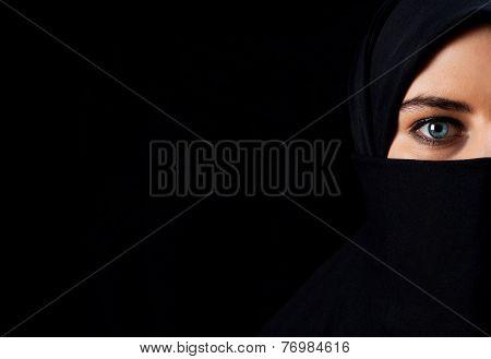 Arab Woman With Black Veil