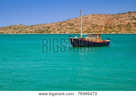 Yacht on the blue lagoon of Crete, Greece