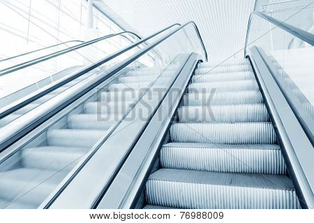 escalator in modern building hall