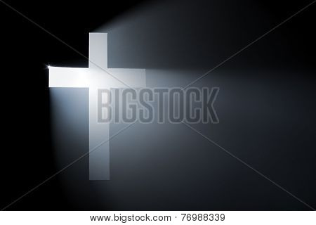 Vhristian cross. Hole cut in cardboard, smoke machine and spotlight. The image may appear noisy, but that is the texture of the smoke.
