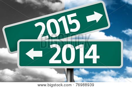 2014 x 2015 creative sign with clouds as the background