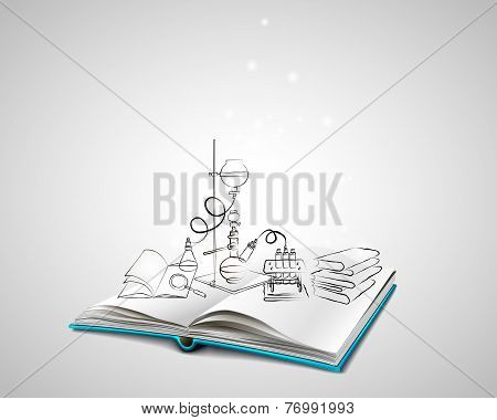 Science icons doodles Chemical Laboratory
