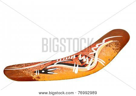 Isolated Hand Decorated Boomerang On White Background