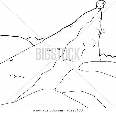 Outlined Boulder On Cliff