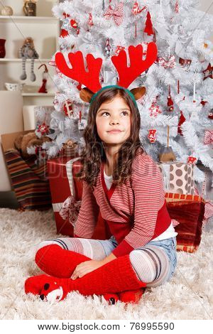 Cute Little Girl At Christmas
