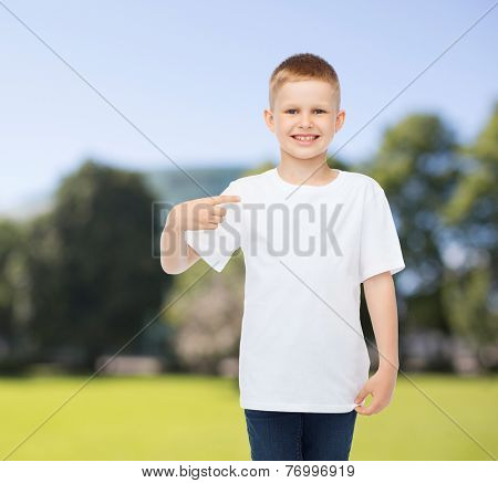 advertising, summer, people and childhood concept - smiling boy in white blank t-shirt pointing finger at himself over park background