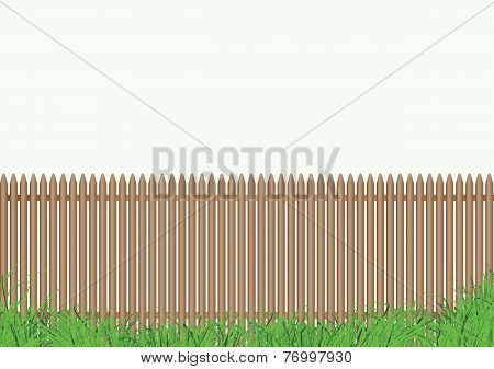 Fence With Grass Light Background