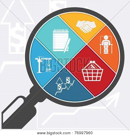 Magnifying glass and shopping basket