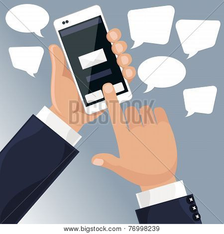 Man holding smartphone in his hand