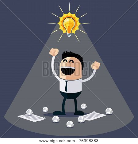 Businessman with ideas. Happy funny character