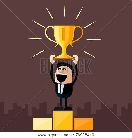 Businessman stands on pedestal holds cup