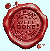 pic of job well done  - well done excellent job or great work congratulations red wax seal stamp  - JPG