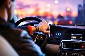 picture of dangerous  - Driving a car at night  - JPG