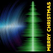 picture of waveform  - Card with music waveform as christmas tree and vinyl grooves - JPG