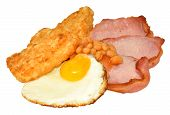 pic of hash  - Fried egg and bacon with hash browns and baked beans isolated on a white background - JPG