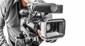 picture of shoot out  - Video operator isolated on a white background - JPG