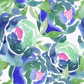 image of blue rose  - Beautiful Blue Watercolor Rose Floral Seamless Pattern Background - JPG