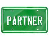 foto of joining  - Partner word on a green automotive license plate to show someone who has joined a group - JPG