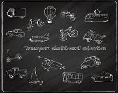 image of tram  - Transport doodle chalkboard decorative icons set with truck balloon bike tram isolated vector illustration - JPG
