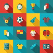 picture of trophy  - Soccer icons flat set with football trophy stadium championship isolated vector illustration - JPG