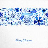 foto of christmas flower  - Hand drawn watercolor Christmas elements seamless pattern background - JPG