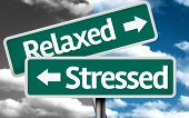 foto of stress relief  - Relaxed x Stressed creative sign with clouds as the background - JPG