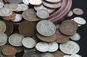 picture of shilling  - A pile of old silver and bronze Australian coins - JPG