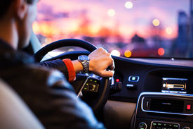 stock photo of steers  - Driving a car at night  - JPG