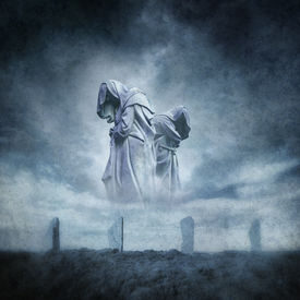 picture of wicca  - Stone circle ritual with two hooded figures materialising above an ancient megalithic monument against a dark - JPG