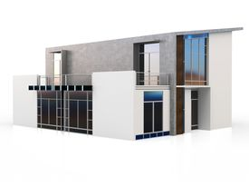 foto of duplex  - 3d modern duplex house on white background - JPG