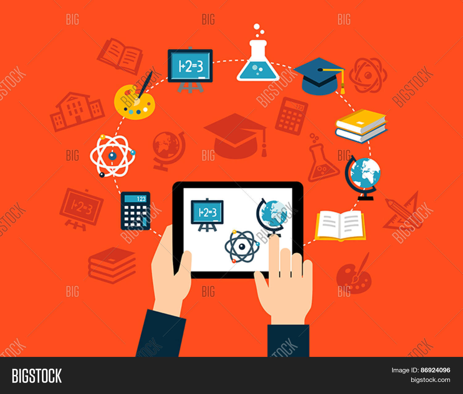 Background With Flat Design Icons Representing Education Studying E Learning Or Online Training
