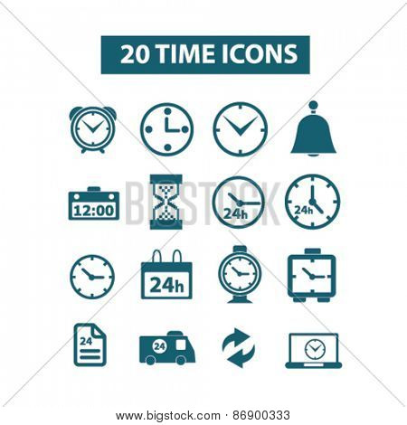 20 time, clocks icons, signs, illustrations design concept set for appliciation, website, vector on white background