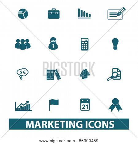 marketing, management icons, signs, illustrations design concept set for appliciation, website, vector on white background