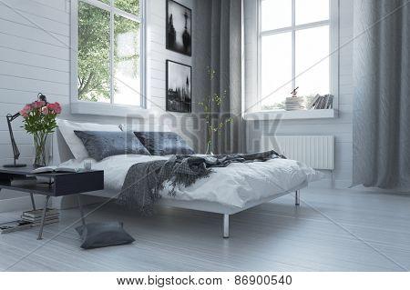 Luxury grey and white modern bedroom interior with a contemporary double divan and bedside table with flowers below large windows with curtains. 3d Rendering