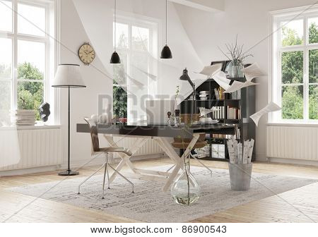 Contemporary Architectural Interior Design of a Work Area Inside a Spacious Home, Emphasizing the Worktable. 3d Rendering