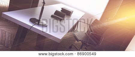 Warm sunlight flooding the office of a corporate CEO furnished with a neat long desk and simple swivel chair in a panoramic view. 3d Rendering
