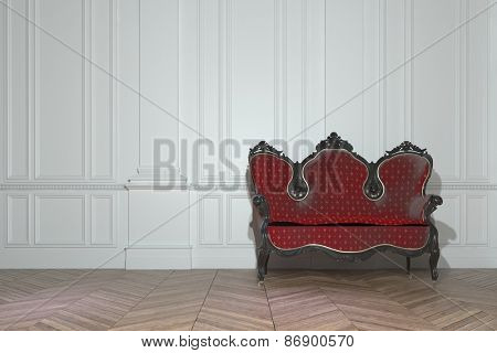 Vintage red upholstered carved wood sofa in a classic minimalist white paneled room in a luxury house interior. 3d Rendering
