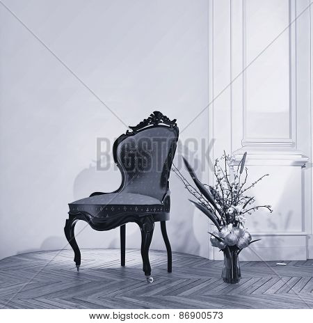 Antique ornate carved wooden chair with a fresh flower arrangement in a vase on the wooden parquet floor in a classic paneled room. 3d Rendering